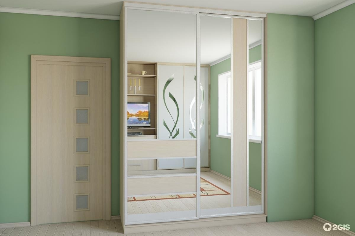 Шкаф-купе (лдсп белёный дуб, зеркальные двери).