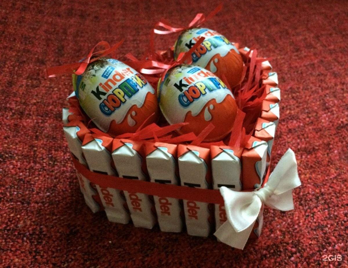 Подарки на Новый год. Торт из киндеров своими руками
