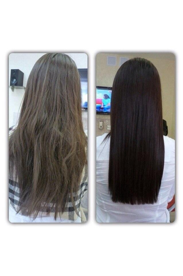 Стрижка волос горячими ножницами до и после